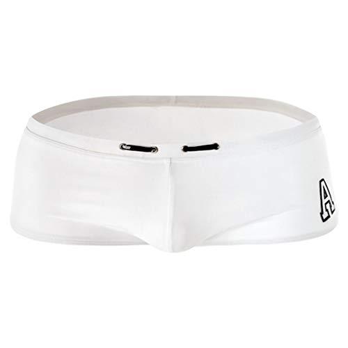 Celucke Badehose Herren Badeshorts Kurze Schwimmhose Kordelzug Stretch Schnelltrocknend für Trainings und Fitnessschwimmen (Weiß, XL)