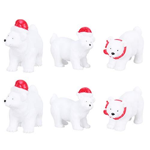 Wakauto 6 Stück Eisbär Figuren Kreative Harz Weihnachten Miniatur Figuren Schneekugel Figuren für Weihnachtsfeier DIY Lieferungen (Zufälliger Stil)