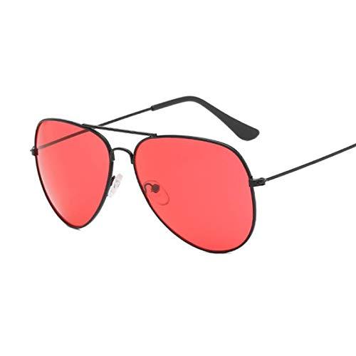 NJJX Gafas De Sol De Piloto De Moda Para Mujer, Gafas De Sol Coloridas Para Mujer, Espejos, Negro, Rojo