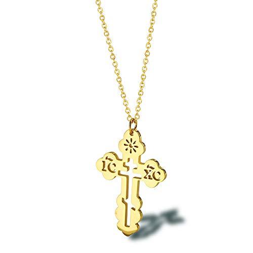 KRMZB Europäisches und amerikanisches hohles Edelstahlzubehör Orthodoxes Kreuz Halskette aus Titan 18K Gold Damen-Schlüsselbeinkette, Gold