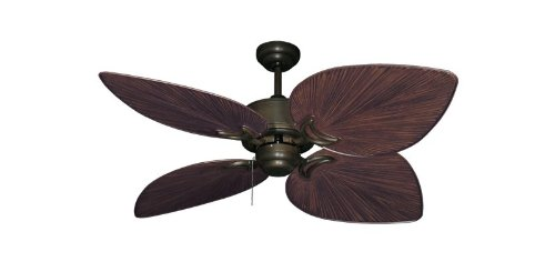 "Bombay Tropical Ceiling Fan in Antique Bronze with 42"" Oil Rubbed Bronze Blades"