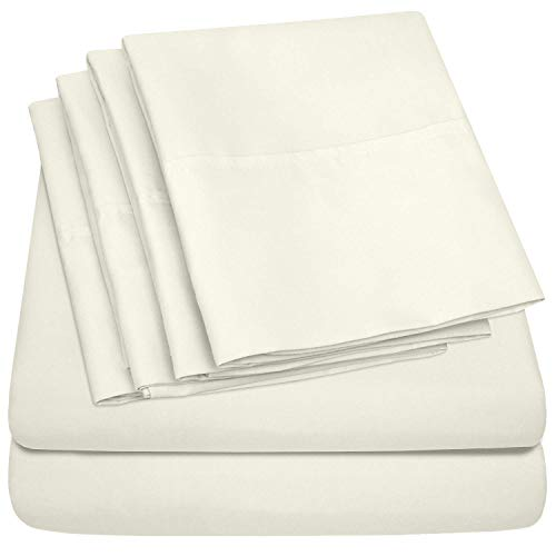 100% Cotton Sheet 800-TC Ivory Rv-King-Sheets Set, 4-Pc Long-Staple Combed Cotton Best-Bedding Sheets for Bed, Breathable, Soft & Silky Sateen Weave Fits Mattress Upto 15'' Deep Pocket