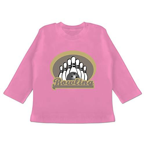Sport Baby - Bowling Old School - 3/6 Monate - Pink - Geschenk - BZ11 - Baby T-Shirt Langarm