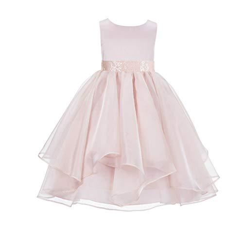 ekidsbridal Asymmetric Ruffled Organza Sequin Flower Girl Dress Toddler Girl Dresses 012S 10