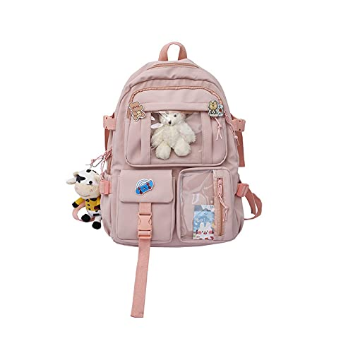 Gran capacidad de doble cubierta impermeable nylon mujeres mochilas multi bolsillo universitario mochila para niñas bolsas de escuela rosa
