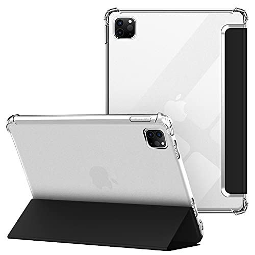 VAGHVEO Funda para iPad Pro 11' 2021/2020, iPad 11 3ª/2ª Generación, Delgada Flexible Protectora Plegable Cubierta Transparente TPU, Función de Soporte Resistente a Impactos Suave Carcasa Cover, Negro