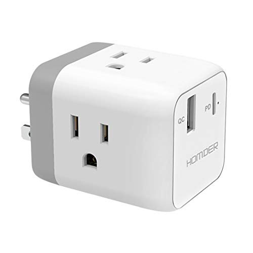 Homder Multi Plug Outlet Extender with USB-A and USB-C Charger, Multiple Outlet Wall Plug Extender Electrical Adapter, Power Strip for Travel, Home, Outlet Splitter Wall Charger, Cruise Essentials