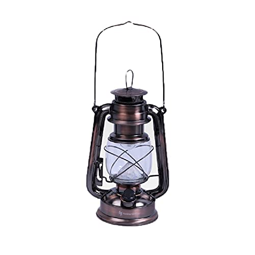 OPIU Lámpara de Aceite Antigua Linterna de Acampada de jardín, lámpara de Camping Vintage Retro LED de keroseno Atmósfera Lámpara Colgante Lámpara de Mesa de Queroseno (Color : Brown)