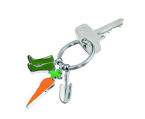 TROIKA Schlüsselanhänger Garden Love - KR14-23/CH - Schlüsselanhänger mit 3 Charms: Möhre, Schaufel und Gummistiefel - glänzend verchromt - das Original von TROIKA