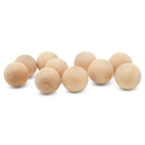 1-1/2 inch Wooden Round Balls, Bag of 10 Unfinished Wood Round Balls, Hardwood Birch Sphere Orbs for Crafts and DIY Projects, Woodworking (1-1/2 inch Diameter) by Woodpeckers