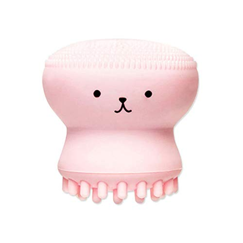 Greatangle Little Cute Jellyfish Wash Brush Exfoliating Face Cleaner Massage Soft Silicone Facial Brush Scrubber Deep Pore Cleaning Brush pink