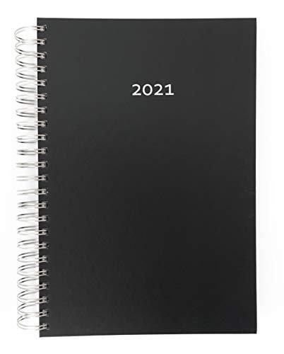 2021 Dicker TageBuch Kalender / Bürokalender Black (Schwarz) - Spiralbindung - 1 Tag = 1 Din A4-Seite