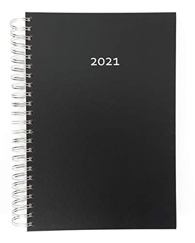 2021 Dicker Kalender – BLACK (schwarz) – Ideal fürs Büro – Spiralbindung – Hardcover-Deckel – 90g-Papier – pro Tag eine volle DIN A4 Seite Platz – Tageskalender | Bürokalender | Schreibtischkalender | extra großer Kalender | Terminkalender | Planungsbuch | TageBuch-Kalender | Notizkalender