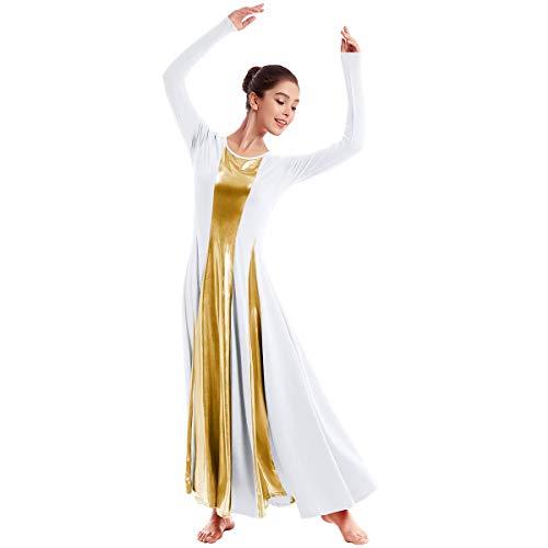 OBEEII Mujer Litúrgico Vestido Ballet Alabanza Adoración Danza Adulto Elegante Disfraz Manga Larga Metálico Patchwork Bailarina Actuación Fiesta Leotardo Gimnasia Carnaval Traje Blanco S