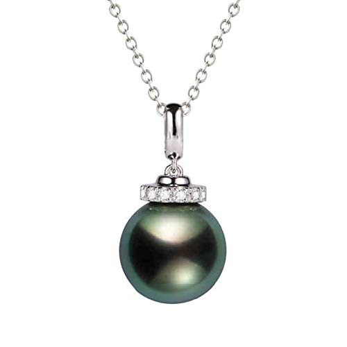 Daesar 18ct White Gold Necklace For Women 0.156ct Diamond Necklaces For Women Elegant Round Pearl Pendant Necklaces Silver
