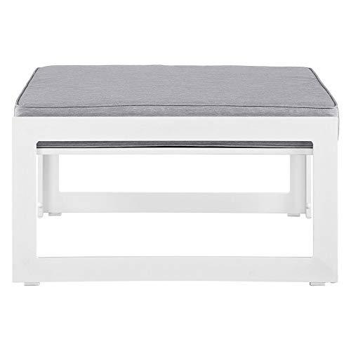 Modway Fortuna Aluminum Outdoor Patio Ottoman in White Gray