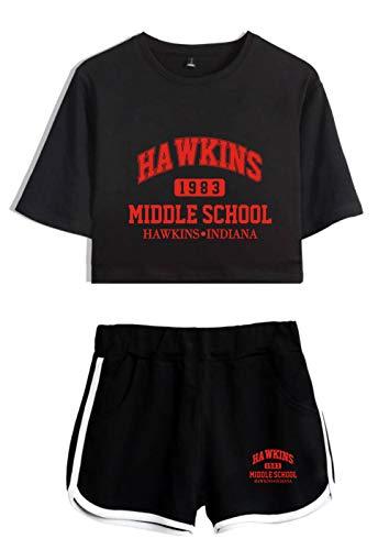 Sweat à Capuche Unisexe Hawkins Middle School Hawkins Indiana Sweat rayé à Manches Longues Pulls Street Fashion BlackR Black XS