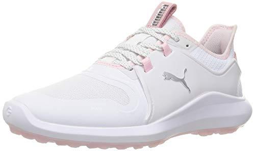 PUMA Ignite FASTEN8 Damen Golfschuhe White-Puma Silver-Pink Lady UK 7.5_Adults_FR 41