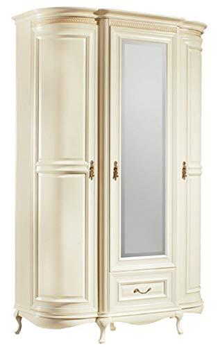 Casa Padrino Barock Schlafzimmerschrank Creme/Gold 130 x 62,6 x H. 206,6 cm - Prunkvoller Kleiderschrank mit 3 Türen und Schublade - Schlafzimmermöbel