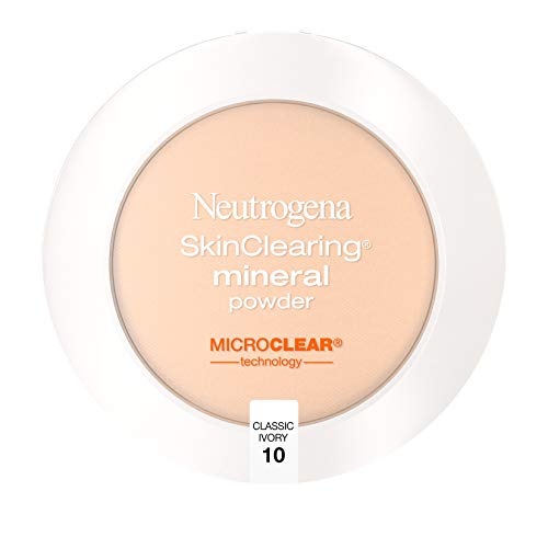 Neutrogena SkinClearing Mineral Acne-Concealing Pressed Powder Compact, Shine-Free & Oil-Absorbing Makeup with Salicylic Acid to Cover, Treat & Prevent Breakouts, Classic Ivory 10,.38 oz