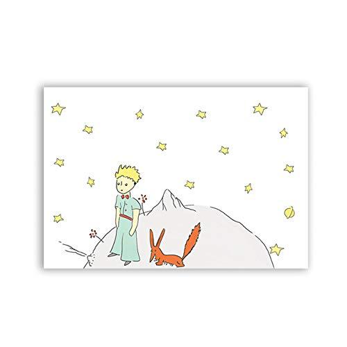 hllhpc El Principito Cartel Acuarela guardería bebé habitación decoración Lienzo Pintura príncipe y Zorro Pared Arte Cuadro para niños Dormitorio