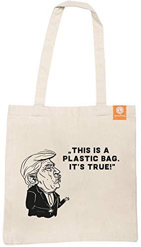 goodbag Donald - smarte Einkaufstasche aus Bio-Baumwolle, beim Einkaufen die Umwelt schützen, 42x38x10 cm Bedruckt, geräumig, Lange Henkel, durch NFC Chip mit Handy App verbinden, inkl. Baumpflanzung