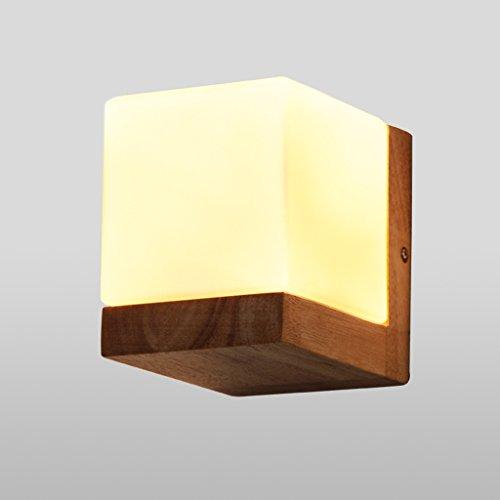 Mode rétro Wall lumières Lampe murale de personnalité créative Lampe de chevet de chambre rétro Cafe Oak Square Sugar Applique Eclairage mural appareils