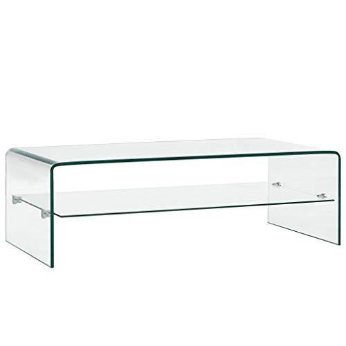 Tidyard Mesa de Centro Mesa Consola Mesas Auxiliares para Salon de Vidrio Blanco Mármol Templado,con un Estante 4#