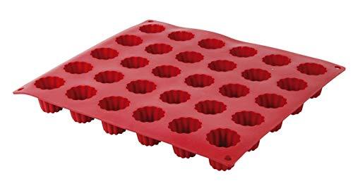 Crealys 513107 Backform für Cannelés, aus Silikon, Rot