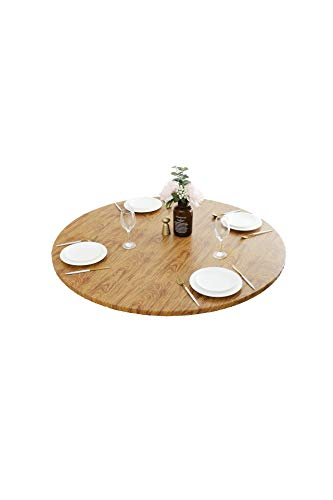 HomeyPlus Round Vinyl Fitted Tablecloth with Flannel Backing, Waterproof Wipeable Table Cover Elastic Edge, Cedar Wood Grain, for Round Tables of 43 - 56 Inches, Seats up to 6
