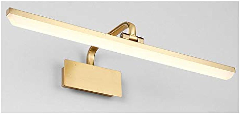 T-TWJQ LED Spiegel Scheinwerfer Nachahmung Kupfer Bad Lampe Wohnzimmer Malerei Scheinwerfer Badezimmer Schlafzimmer Spiegel Schrank Beleuchtung, warmes Licht, 40cm9W