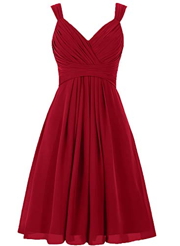 Bridesmaid Dress Short Prom Dresses Chiffon Simple Party Dress for Junior Burgundy M (Apparel)