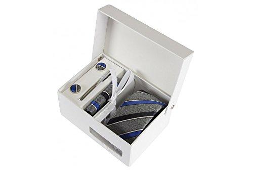 Coffret Buenos Aires - Cravate slim gris chiné à rayures bleu denim, bleu marine et fines rayures blanches, boutons de manchette, pince à cravate, poc