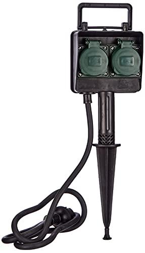 Brennenstuhl Garten-Steckdose/Außensteckdose 2-fach mit Erdspieß (witterungsbeständiger Kunststoff, Steckdose für außen mit wasserfestem Gehäuse, 1,4m Kabel) schwarz, 1154430