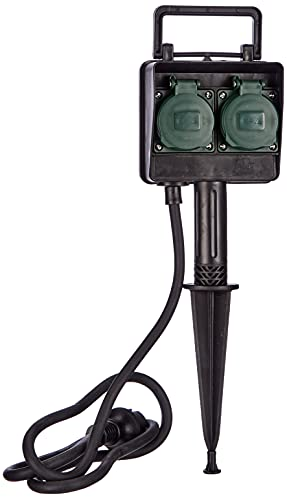 Brennenstuhl Garten-Steckdose/Außensteckdose 2-fach mit Erdspieß (witterungsbeständiger Kunststoff, Steckdose für außen mit wasserfestem Gehäuse, 1,4m Kabel) schwarz