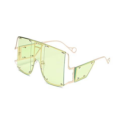 HHZ Las Gafas de Sol rectangulares polarizadas de Las señoras, Gafas de Sol de Marco Grande de Metal, Gafas de Sol clásicas Anti-UV, Amarillo