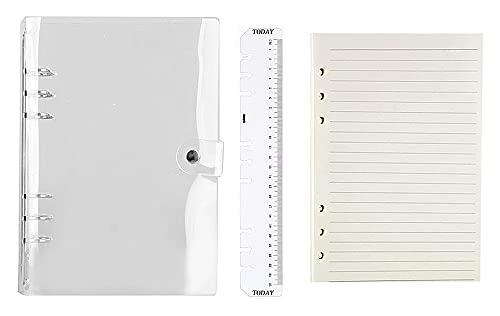 ルーズリーフ手帳 A5 ボダン付き 透明 軽量 手帳カバーメモ (ケース+内ページ )スタンダードタイプ ビジネス プライベート 能率アップ 学生用 オフィス用 日記帳 6穴 リング バインダー 付き 透明 綺麗な