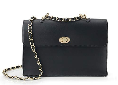 Women Chain Shoulder Handbag with Turn Lock Minimalist Flap Top Cross Body Bag Purse (Black)