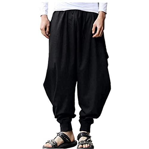 Mannen harembroek Color Rekbare Loose Casual Yoga Wide-Leg Broeken joggingbroek Black M