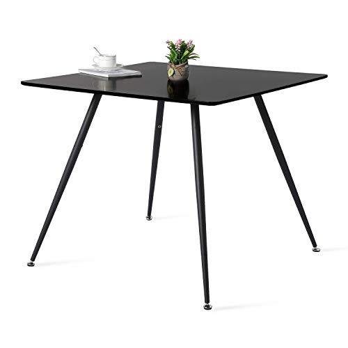 buybyroom Esstisch Modern Esszimmertisch MDF Quadrat Küchentisch mit Schwarz Eisenbeine, 90 x 90 x 75 cm - Schwarz