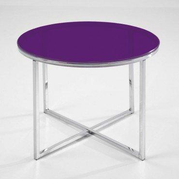 NAKURA Mesa Auxiliar de salón Redonda PARCHIS, velador de rincón con Cristal Templado, 50x50 cm (Violeta)