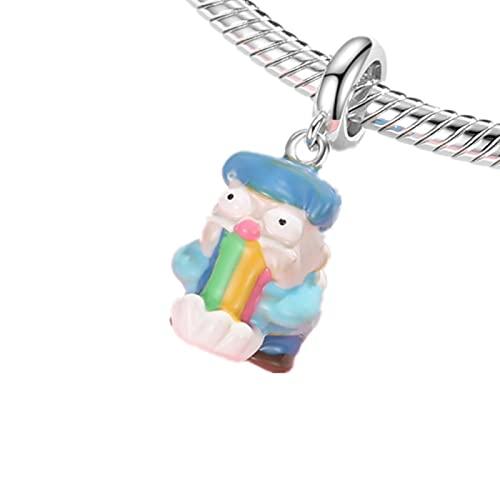 LIJIAN DIY Rainbow Elf Beads 925 Sterling Silver Fun Charm Accesorio Se Adapta A Original Pandora Collar Pulsera Pulsera Regalo