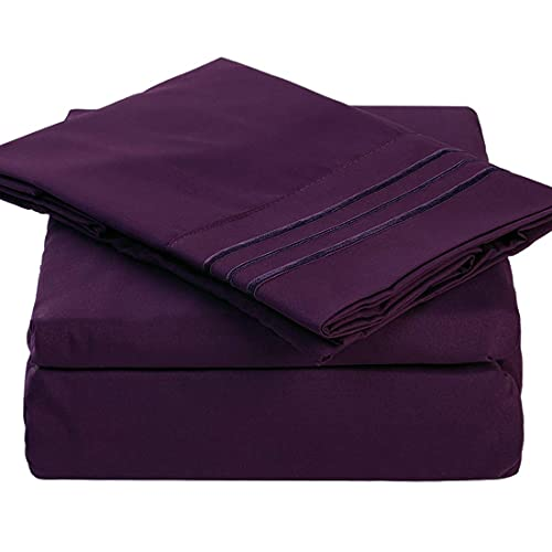 TEKAMON Premium 4 Piece Bed Sheet Set 1800TC Bedding 100% Microfiber Polyester - Super Soft, Warm, Breathable, Cooling, Wrinkle Free - 10-16' Extra Deep Pockets, Queen, Purple