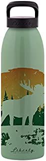 Liberty Bottleworks Not an Elk Aluminum Water Bottle, Made in USA, 24oz, Edamame, Standard Cap