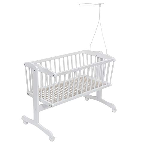 New White Swinging Baby Crib Cot Cradle/White Baby Crib with Mattress & Canopy Rod/Holder