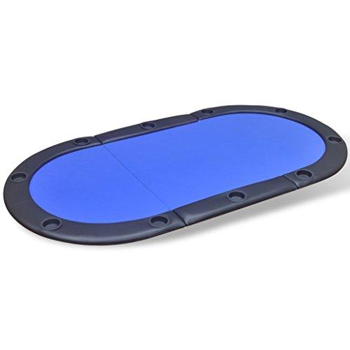 Festnight Klappbar Pokertischauflage Pocker Spieltisch Pokerauflage Blau mit 10 Kunststoff Becherhalter Geeignet für 10 Spieler