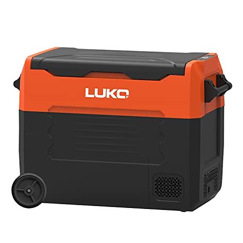 LUKO EA55 Tragbarer Autokühlschrank 12v 230v - 55L - Elektrische Kompressor Kühlbox mit mehreren Fächern für Auto, Camping, Wohnmobil, Boot und Garten, Orange