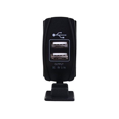 ATV Barco Coche el/éctrico DC 12 V-24 V Carga r/ápida 3,1 A Coche Cargador Dual USB Interruptor basculante Estilo LED Azul Motocicleta Puerto Dual USB Carga Dock para Coche Motocicleta