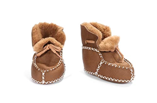 Shawnee Natural Sheepskin Shearling Leather Indoor Baby Shoes Booties Winter Boots Shearling (Small, Brown, Small)