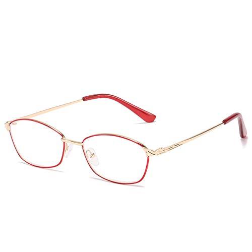 LGQ Exquisitas y Elegantes Gafas de Lectura con luz Anti-Azul para Dama, Gafas de Montura Completa de Metal de Moda, Gafas para Ancianos de Alta definición, Aumento de +1,00 a +3,00,Golden Red,+3.00